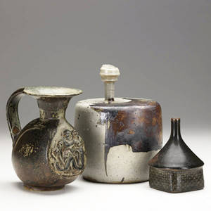 Stig lindberg bode willumsen and claes thell three scandinavian glazed ceramic vessels the largest by claes thell 1971 one a pitcher by bode willumsen for royal copenhagen one a bud vase by stig