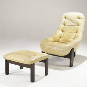 Percival lafer brazil lounge chair and ottoman upholstered in cream leather on solid rosewood bases made in brazil paper label chair 39 x 29 x 33 12 ottoman 14 12 x 24 12 x 20 12