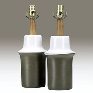 Marshall pair of ceramic table lamp bases covered in green and gray matte glaze marshall script signature pottery only 10 12 x 6 14