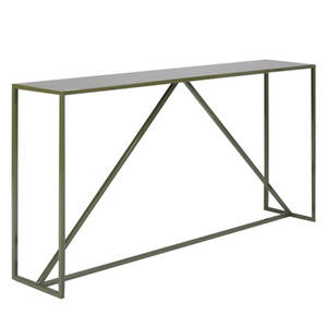 Blu dot design  manufacturing strut console in olive enamel with wood top and steel 30 14 x 59 34 x 11 12