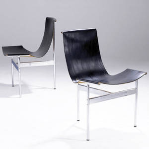 William katavolos  ross littell douglas kelley pair of t chairs with black leather sling seats on chromed steel frames 32 x 22 12 x 22
