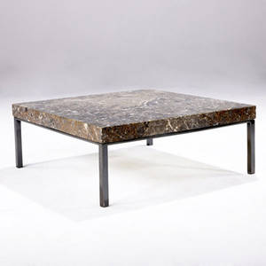 Edgewood furniture co in the style of knoll side table with marble top over chromed steel base 10 34 x 27 14 sq