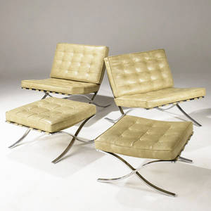 Style of mies van der rohe pair of barcelona lounge chairs with cream tufted leatherette cushions over chrome bases each with ottoman chair 31 x 31 x 33 ottoman 14 12 x 24 x 24