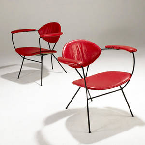 Reillywolfe ny attr pair of lounge chairs upholstered in vinyl on enameled iron bases 28 12 x 28 34 x 23