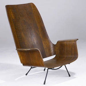 Style of luther conover low lounge chair with laminated plywood shell on wrought iron base 38 12 x 35 12 x 21 12