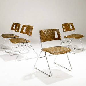 Modern set of four dining chairs with woven leather seating on chromed steel bases 32 x 21 x 24 12