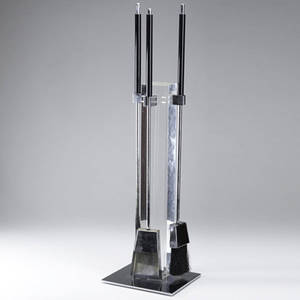 Albrizi fireplace tool set in lucite and polished chrome with black plastic handles 35 x 10 x 8 12