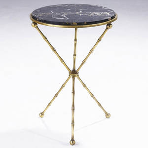 Styles of bagues side table with italian marble top on faux bamboo solid brass base 24 x 17 dia