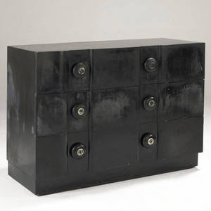James mont threedrawer dresser in black enamel with silver leafed pulls branded mark 34 34 x 46 x 20 12