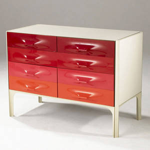 Raymond loewy df 2000 chest with eight drawers in white laminate and colored acrylic panels on steel frame df 2000 label 29 12 x 41 x 21