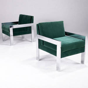 Style of milo baughman pair of upholstered lounge chairs on chromed steel bases 29 12 x 24 14 x 28