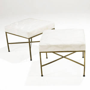 Paul mccobb  calvin pair of brass and upholstered xbase benches 16 x 20 14 sq