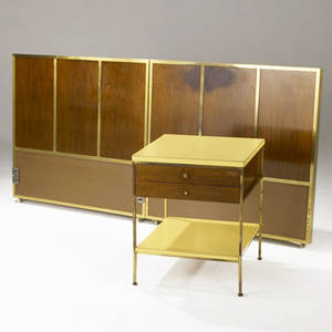 Paul mccobb  calvin pair of twin headboards and a twodrawer nightstand in walnut brass and architectural laminate each headboard 37 x 39 12 nightstand 24 x 20 sq