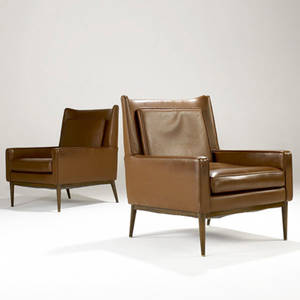 Paul mccobb  calvin pair of lounge chairs upholstered in brown leatherette on walnut bases 35 x 27 12 x 28 12