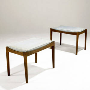 Jens risom pair of sculpted walnut benches with inset upholstery jens risom fabric labels 17 34 x 24 x 15