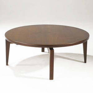 Jens risom walnut coffee table with circular rotating top 16 12 x 42 dia