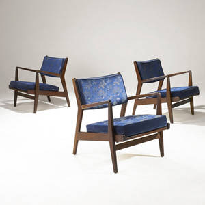 Jens risom three walnut armchairs with silk upholstered cushions jens risom circular paper label 29 12 x 27 x 27