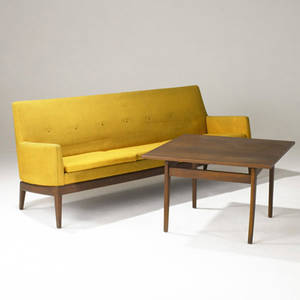 Jens risom sofa upholstered in original wool on teak frame sofa table with walnut top on teak legs and teak side table with circular top sofa with fabric label sofa 32 x 25 x 78 12 table 21