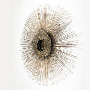 Style of curtis jere sunburst wall sculpture with radiating spikes of copper rod and a molten brass center in three overlayed levels 40 12 dia