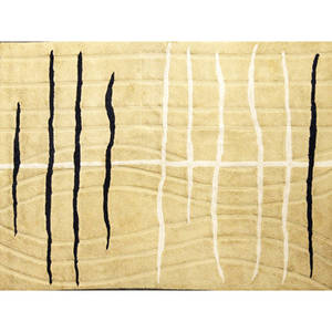 Edward fields roomsize rug with black and white pattern on ochre ground stamped edward fields on selvage 145 x 108