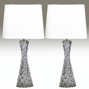 Orrefors and hansen pair of table lamps with glass bodies and cream shades one with paper label remnant 27 34 x 9 12 x 12 12
