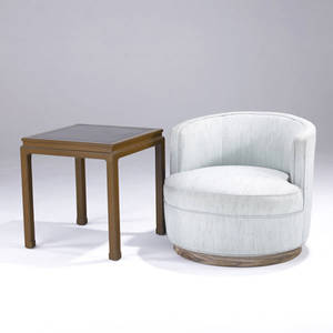 Edward wormley  dunbar barrel chair upholstered in mint green on swivel base and mahogany side table with black leather top branded mark to table chair 25 x 28 x 31 table 22 x 21 12 sq