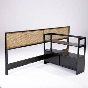 Edward wormley  dunbar king sized headboard with woven caned back and bookshelf with sliding door cabinet headboard with green metal tag headboard 36 x 83 bookcase 30 14 x 40 x 11