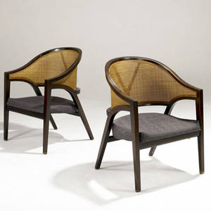 Edward wormley  dunbar pair of lounge chairs in laminated walnut frames with caned backs on brass feet 30 x 22 14 x 20 14