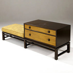 Edward wormley  dunbar twodrawer walnut chest with integrated upholstered bench dunbar brass tag 23 14 x 66 x 19 cabinet length 33