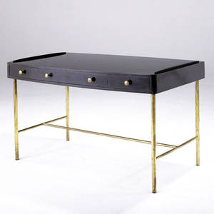 Edward wormley  dunbar desk in combed oak with brass frame legs and pulls brass d tag 28 12 x 46 x 27 12