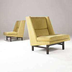 Edward wormley  dunbar pair of rare lounge chairs in striped fabric upholstery on dark walnut bases dunbar fabric label 32 x 37 x 24