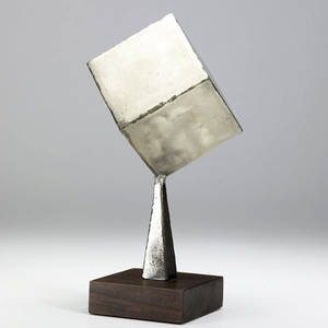 Style of paul evans small welded metal table sculpture on wood base base stamped 9 wrf 73 12 12 x 6