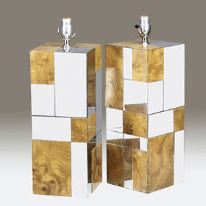Style of paul evans pair of burlwood and polished chrome table lamp bases 21 12 x 7 14 sq