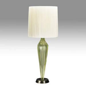 Midcentury modern fluted chartreuse glass table lamp base provenance collection of juan montoya 37 14 x 7 dia