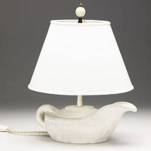 Decorative table lamp with sculptural plaster base of oil lamp form with white cloth shade and wooden finial provenance collection of juan montoya 15 14 x 11 14 dia