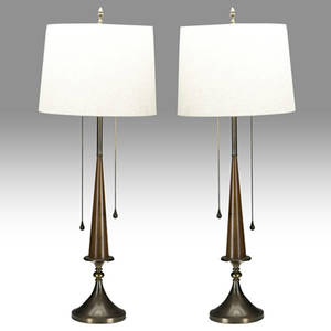 Midcentury modern pair of turned wood and brass doublesocket sofa table lamp bases provenance collection of juan montoya 45 x 8