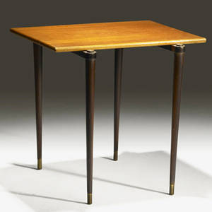 Modern teak occasional table with brass tenons and footcaps provenance collection of juan montoya 17 x 17 34 x 16 34