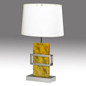 Decorative resincoated marble and chrome table lamp ca 1970s provenance collection of juan montoya base 27 x 9 12 x 4 34