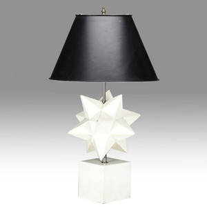 Decorative starshaped wooden table lamp in cream enameled finish with chrome stem provenance collection of juan montoya base 29 x 12