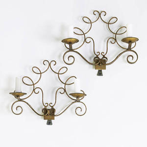 Style of jules leleu pair of doublearm giltbronze wall sconces provenance collection of juan montoya 13 x 16 12 x 8