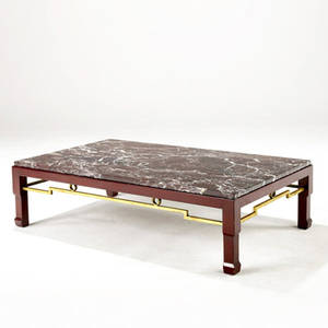 Modern coffee table with rose marble top over wooden base in chinese red finish with brass stretchers provenance collection of juan montoya 12 x 44 x 26