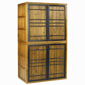 Japanese twopiece stacked tansu cabinet each unit with two jacaranda panel doors in ebonized grilles provenance collection of juan montoya 68 12 x 48 x 38