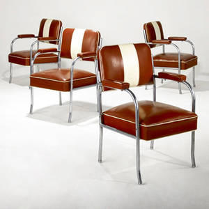 Modern set of four tubular steel armchairs with reddishbrown and cream cushions provenance collection of juan montoya 37 x 26 x 22