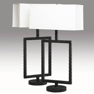 Juan montoya pair of textured patinated bronze doublesocket table lamp bases provenance collection of juan montoya 31 12 x 12 x 7 12