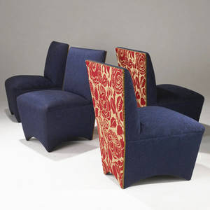 Modern set of four sidechairs upholstered in navy and red fabrics with brass tacking provenance collection of juan montoya 37 x 26 x 27 12