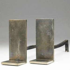 Style of samuel marx pair of andirons with steel uprights 8 x 3 12 x 15 12