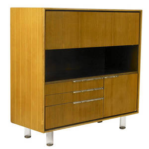 Gilbert rohde  herman miller dropfront desk with string inlay to case fitted interior and four drawers with lucite legs and pulls stenciled no 3970 39 x 40 x 16 12