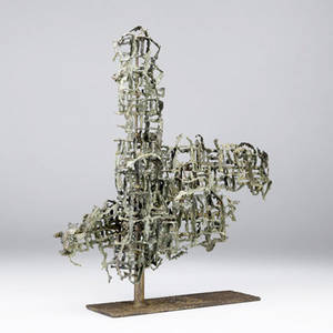 Fantoni abstract sculpture in welded steel and copper with verdigris patina 16 12 x 15 x 5 14