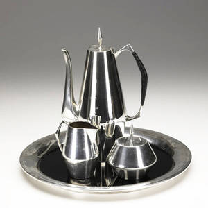 Gio ponti  reed  barton fourpiece diamond pattern sterling silver coffee service including coffee pot with black canewrapped handle cream pitcher sugar dish and tray with black laminate center