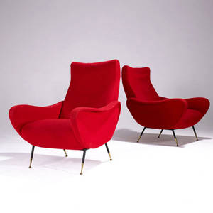 Style of marco zanuso pair of lounge chairs upholstered in wool on steel and brass feet 36 12 x 28 x 31